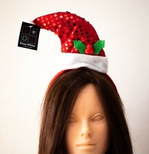 2 x Red sequinned Santa hat  on red  hair band