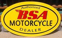 BSA Motorcycle Dealer Metal Hand Painted Enamel Custom Sign *Gas & Oil