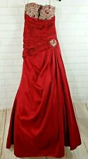 Princess Collection Prom 16 Dress Ball Gown Quinceanera Sz 6 Red Stoned Layered
