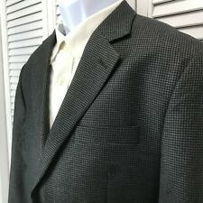IZOD Mens 40S Blazer Sport Coat Dark gray Black Houndstooth Single Breasted