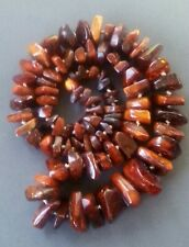 Antique chunky Baltic Amber egg yolk/cognac strand necklace, 114 grams