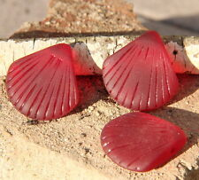 Large Shell Pendant Beads, Cherry Red w/Sea Glass Finish, 29x27mm, 2 Pcs.