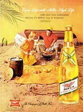 1962 Couple at Beach Bar-B-Que photo Miller High Life Beer vintage print ad