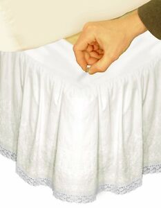 VERATEX ADJUSTABLE BED SKIRT EMBROIDERED CALIFORNIA KING - IVORY