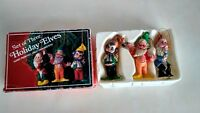 Set of 3 Vintage 1980s  Emson Elves Christmas Tree Ornaments