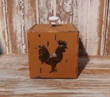 Primitive MUSTARD Painted Wooden Box ROOSTER for Cottage or Country Home Decor