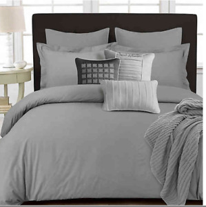 TRIBECA LIVING 350 Thread Count 3 Piece Solid Duvet Set King Silver Grey Cotton