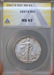 1937 S Walking Liberty Half Dollar - MS63 ANACS