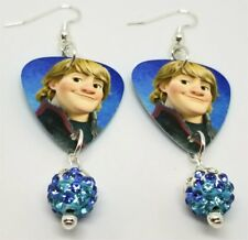 Frozen's Kristoff Guitar Pick Earrings with Blue and White Striped Pave Beads