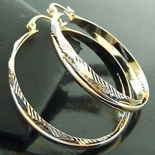 EARRINGS HOOP GENUINE REAL 18K YELLOW WHITE MULITI-TONE G/F GOLD ANTIQUE DESIGN