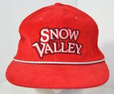 VTG 80s Snow Valley Ski Resort Corduroy Baseball Hat Cap Snapback Spellout Red