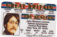John Lennon of the BEATLES .. plastic ID card Drivers License -