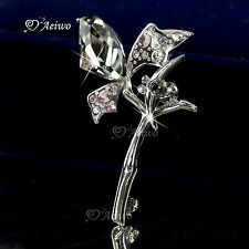 18K WHITE GOLD GP MADE WITH SWAROVSKI CLEAR PINK CRYSTAL BEE FLOWER PIN BROOCH