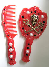 BRASS KEY CROSS SKULL HAND MADE RED KITCH GOTHIC MIRROR AND COMB