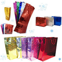 Holographic Gift Bags Foil Shine Party Bag Present Wine Bottle Birthday All Size