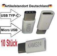 10x Adapter Typ C 3.1 zu Micro USB B Tablet Stecker Buchse Kabel Konverter weiß