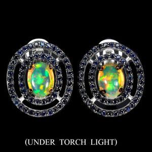 Oval Fire Opal 8x6mm Blue Sapphire Diamond Cut 925 Sterling Silver Earrings
