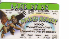 Nikko Flying Monkey Wizard of OZ novelty plastic collectors card Drivers License