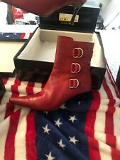 Red Valerie Stevens 'Jack' zip up stiletto bootie with buckles | Size 5.5