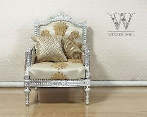 1/4 classic armchair Louis XVI style silver for dolls 16 inch, BJD furniture