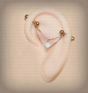 14K Rose Gold Over Industrial Barbell Bar Earrings with Opalite stone & Chain's