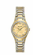 Bulova Women's 98L199 Quartz Crystal Accents Gold-Tone Bracelet 24.5mm Watch