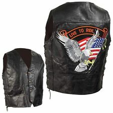 "4x - Diamond Plate Buffalo Leather Vest with large ""Live To Ride"" Patch!"