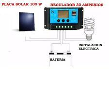 KIT 100W CAMPER 12V Placa Solar ALEMANIA y REGULADOR DIGITAL 30A