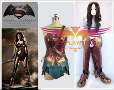 Film Wonder Woman Diana Prince Cosplay Costume Shoes Wig Full Set
