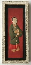 Asian folk art fabric and paper 3D collage with handmade wood and paper framing
