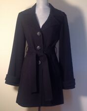 Kenzie Button Front Black Coat With Tie at Waist