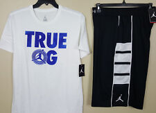 NIKE JORDAN RETRO 11 TRUE OG CONCORD OUTFIT SHIRT +SHORTS WHITE BLACK (SZ LARGE)