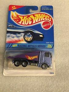 RARE Hot Wheels 1995 Racing Metals Series #337 Ramp Truck PURPLE & 7SPs B92