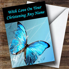 Blue Butterfly Personalised Christening Greetings Card