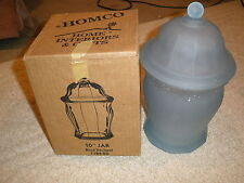 """Home Interiors Gifts 10"""" Blue Frosted Etched Glass Jar 1184-Bd With Box"""