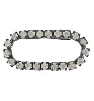 Pave Clear Rhinestone Oval Pin Brooch Gun Metal Gray Vintage