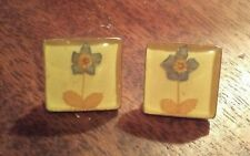 "Set In Silver, Spanish, 1/2"" Vintage Studs: Flowers Under Glass,"
