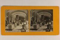 Francia Parigi Museo Del Louvre Sala Egitto c1900 Foto Stereo Analogica
