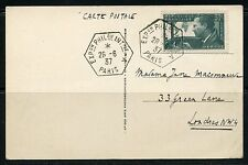 FRANCE 1937  INT'L PHILATELIC EXPO CANCELED CHAMPS  ELYSEES POSTCARD TO LONDON