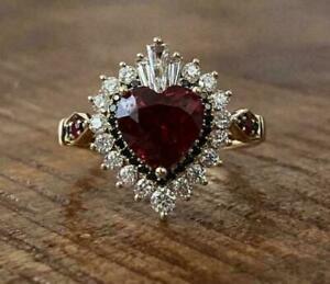 14K Rose Gold Over 3 Ct Heart Red Garnet & Diamond Halo Wedding Ring For Women