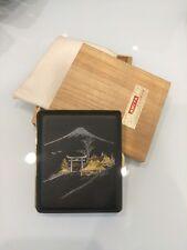 Vintage Amita Japan Damascene Steel Cigarette Case With Gold & Silver Inlay