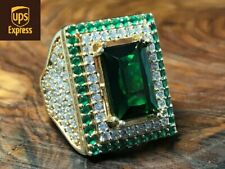 925 Sterling Silver Handmade Authentic Emerald Turkish Ladies Ring Size 6-10