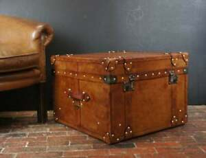 English Handmade Tan Leather Vintage Inspired Coffee Table Trunk