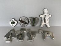 8 Vintage Cookie Cutters with handles Aluminum metal Holiday Shapes Animals