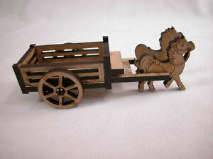 Dollhouse Miniature Horse Wagon Laser Cut Fiberboard #Z232 CLOSING
