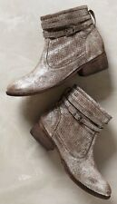 NIB Anthropologie SEYCHELLES Outback Booties Pewter Suede Silver Strap Buckle 7