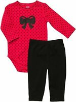 "NWT CARTER""S GIRLS Red/BLACK Dot Bodysuit w/Sparkly Bow BLACK PANTS W/RUFFLE"