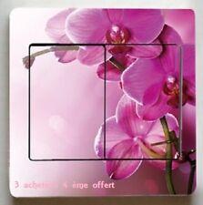 """Autocollant Interrupteur """"Orchidée"""" Switch Sticker Prise Déco Murale 9 × 9cm"""