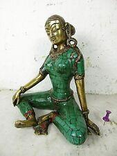 Alte Shakti Göttin Buddha Bronze mit Türkis Intarsien sexy Frau Akt Tibet ~1960
