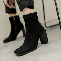 Women's Square Toe Ankle Boots Leather Block Heels Motor Punk Zip Shoes Runway